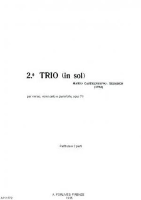 Secondo trio in sol : per violino, violoncello e pianoforte, opus 70, 1932