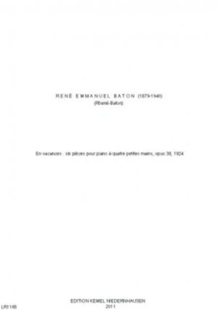 En vacances : six pieces pour piano a quatre petites mains, opus 38, 1924