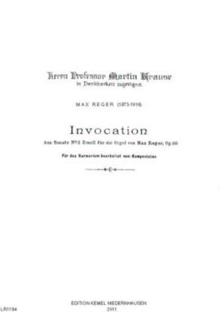 Invocation : aus Sonate no. 2 D moll fur die Orgel : fur das Harmonium, op. 60
