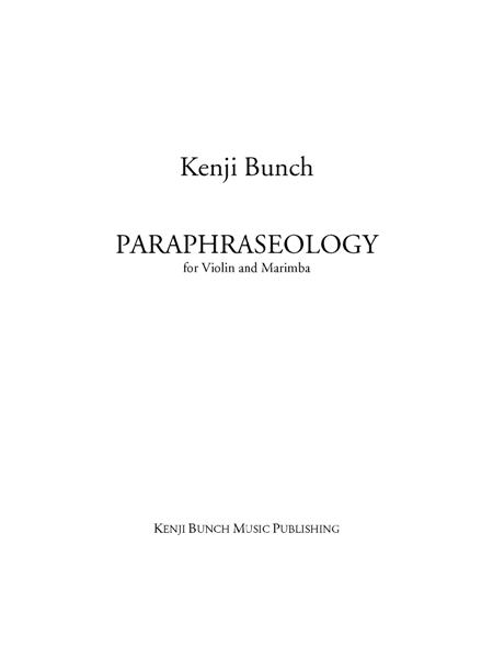 Paraphraseology (score and part)
