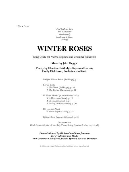 Winter Roses (piano/vocal score)