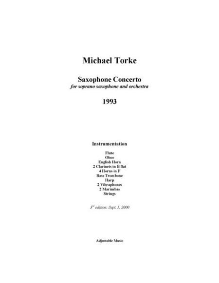 Saxophone Concerto - score (orch. ver.)