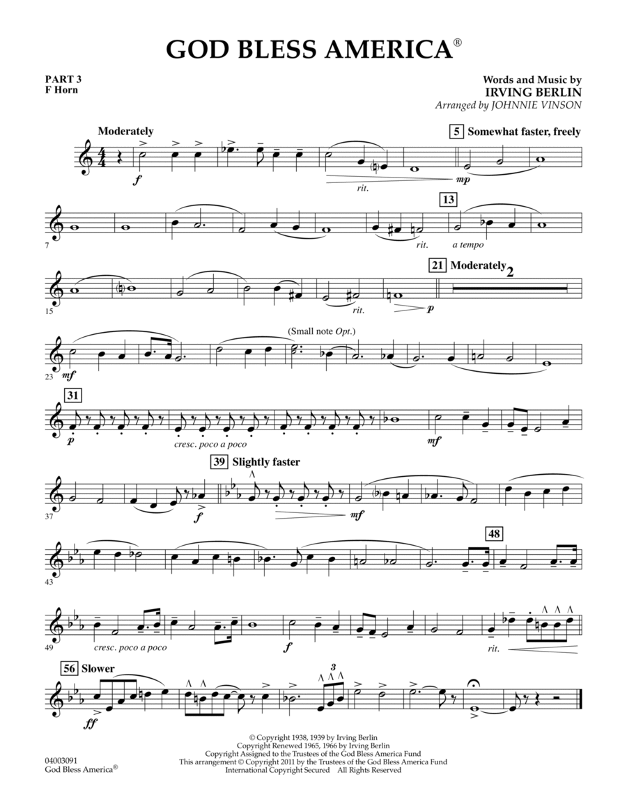 God Bless America - Pt.3 - F Horn
