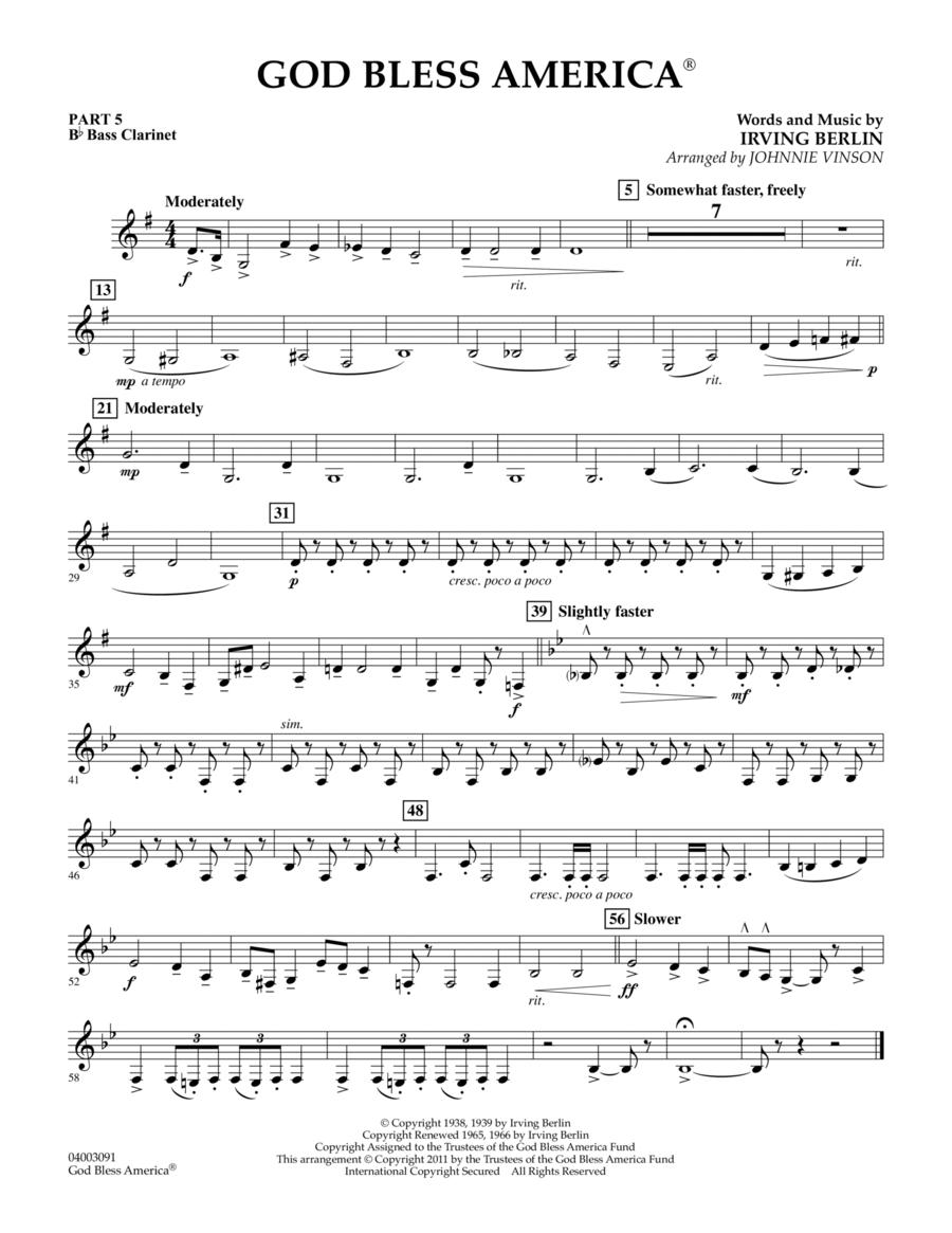God Bless America - Pt.5 - Bb Bass Clarinet