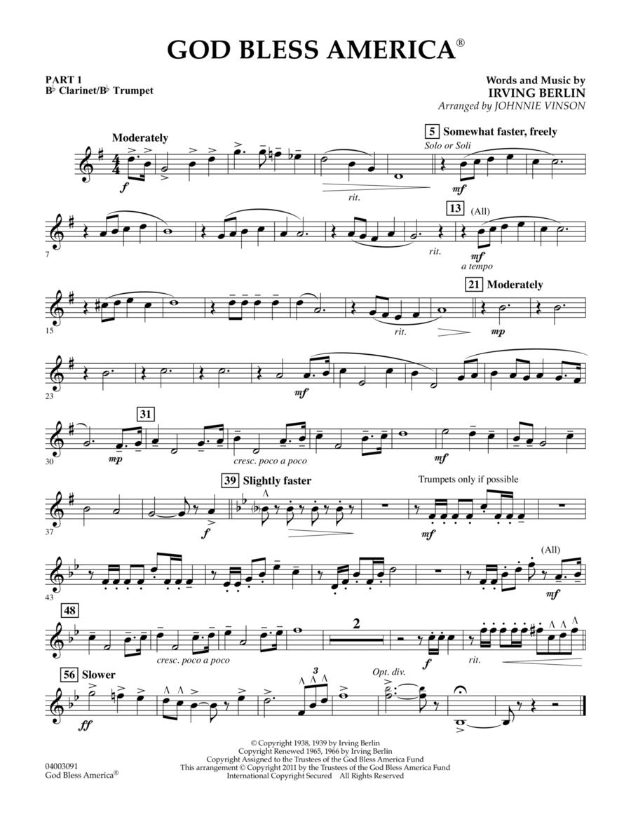 God Bless America - Pt.1 - Bb Clarinet/Bb Trumpet
