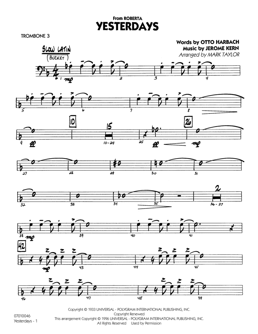 Yesterdays - Trombone 3