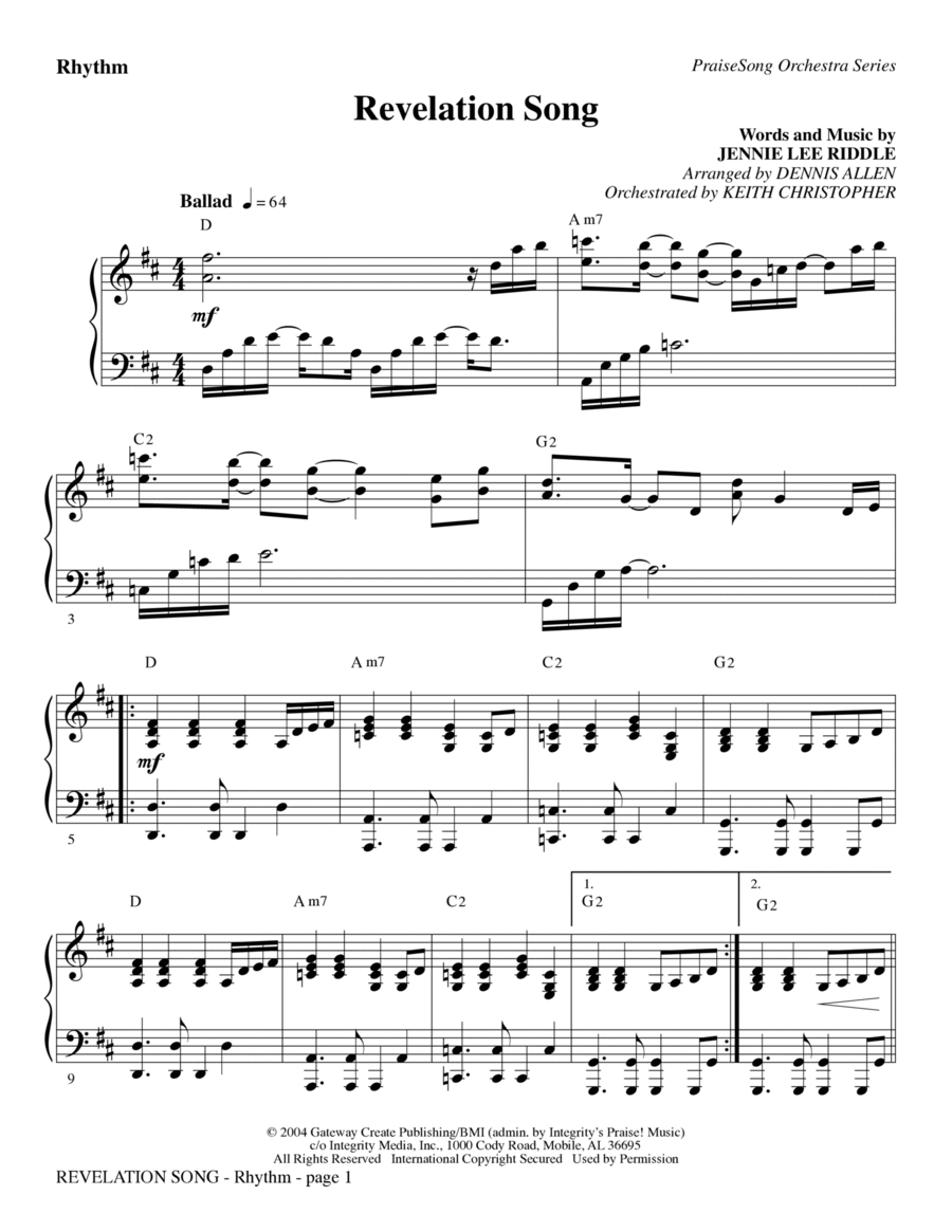 Revelation Song - Violin 1