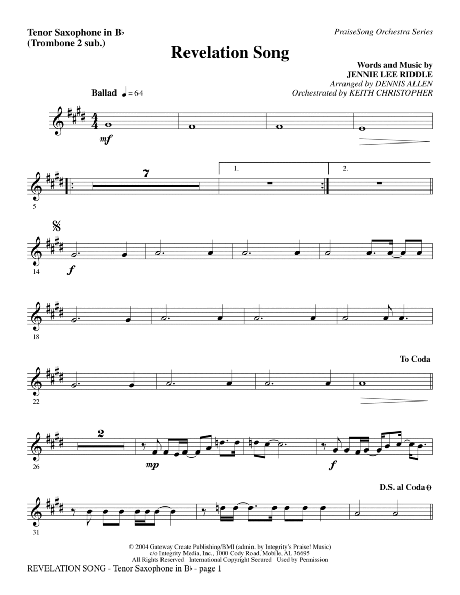 Revelation Song - Bass Clarinet (sub. Tuba)