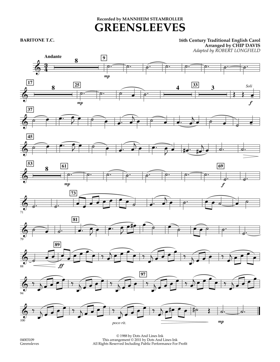 Greensleeves - Baritone T.C.
