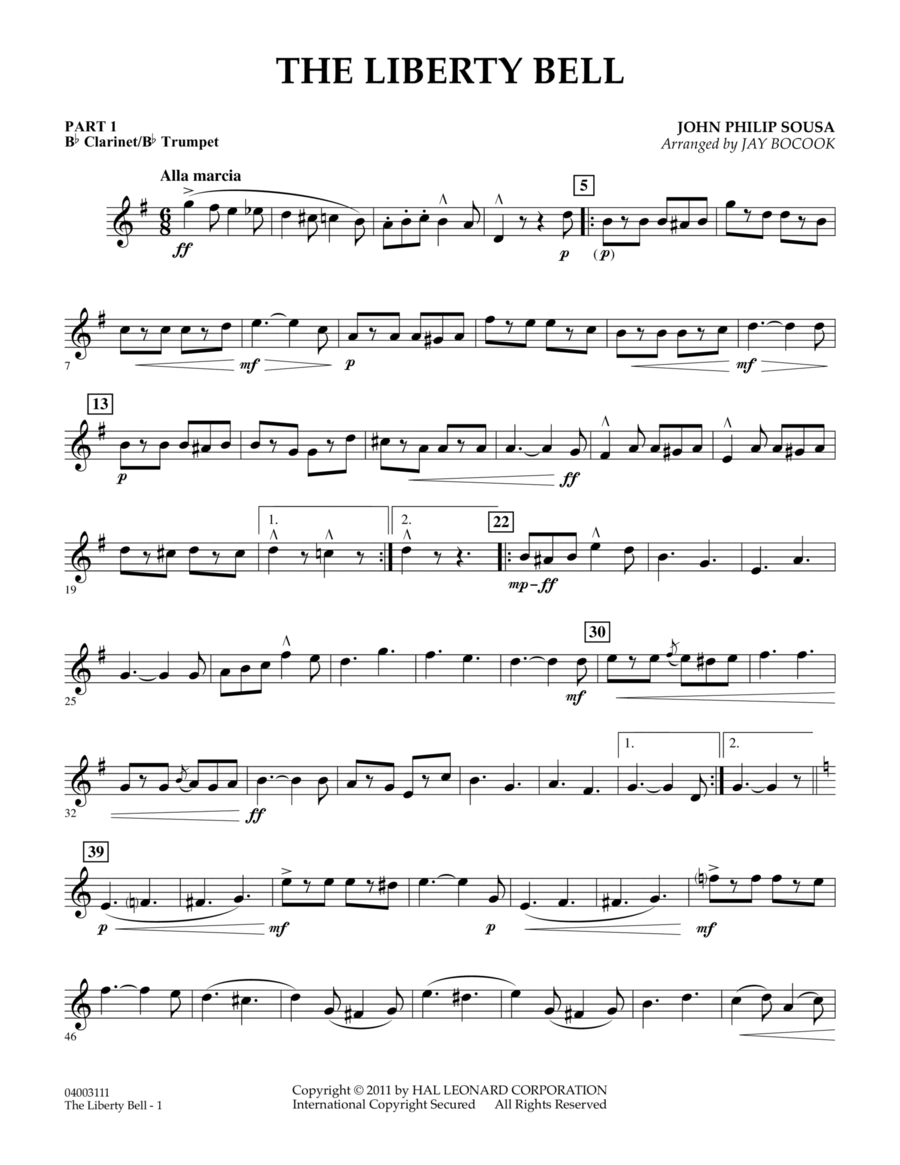 The Liberty Bell - Pt.1 - Bb Clarinet/Bb Trumpet