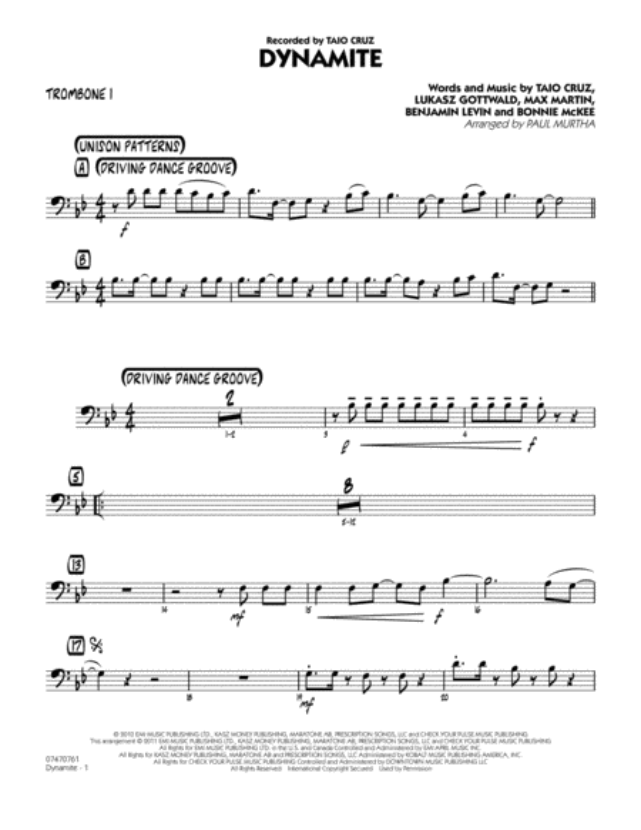 Dynamite - Trombone 1