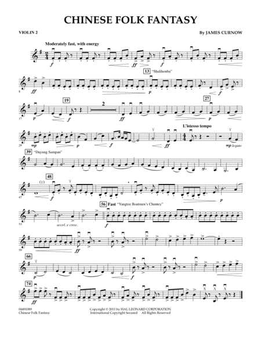 Chinese Folk Fantasy - Violin 2