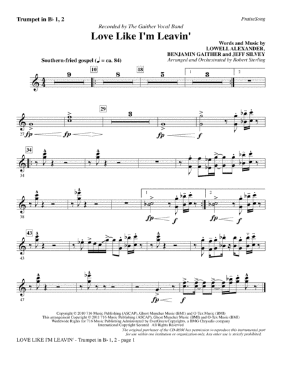 Love Like I'm Leavin' - Bb Trumpet 1 & 2