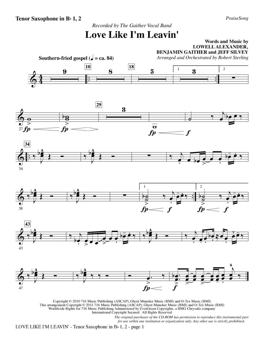 Love Like I'm Leavin' - Tenor Saxophone 1 & 2 in Bb