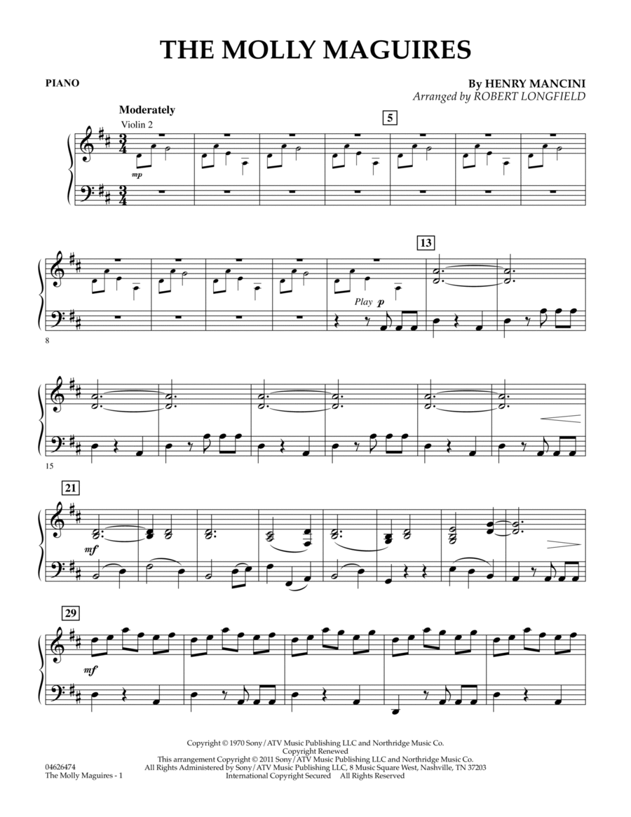 The Molly Maguires - Piano
