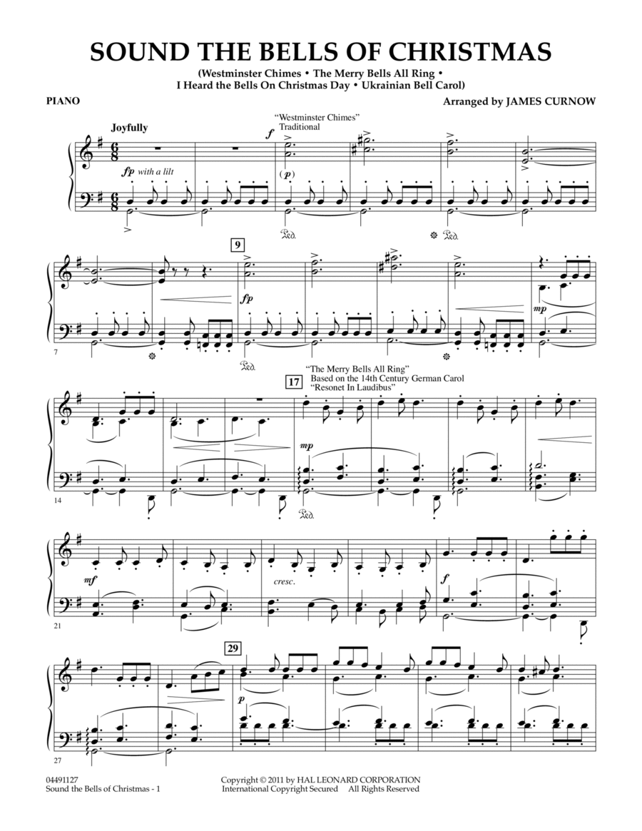 Sound The Bells Of Christmas - Piano