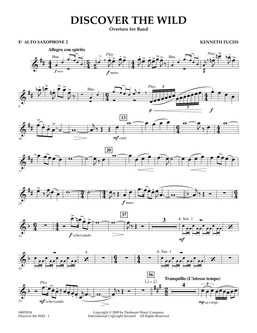 Discover The Wild - Eb Alto Saxophone 2