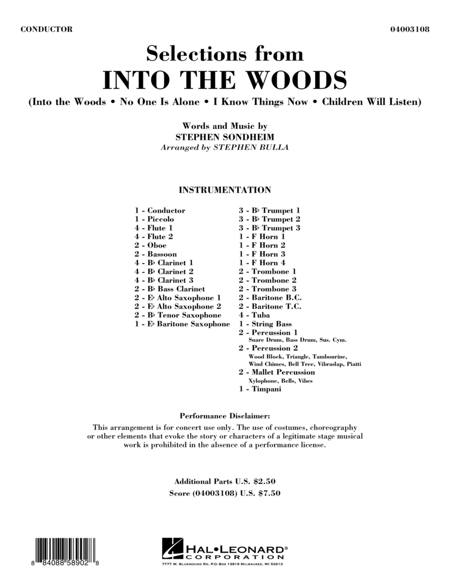 Selections from Into the Woods - Full Score