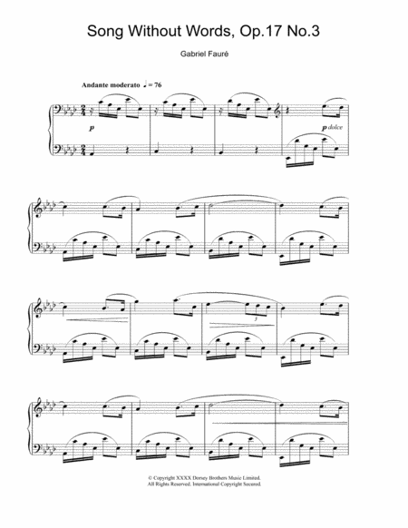 Song Without Words, Op. 17, No. 3
