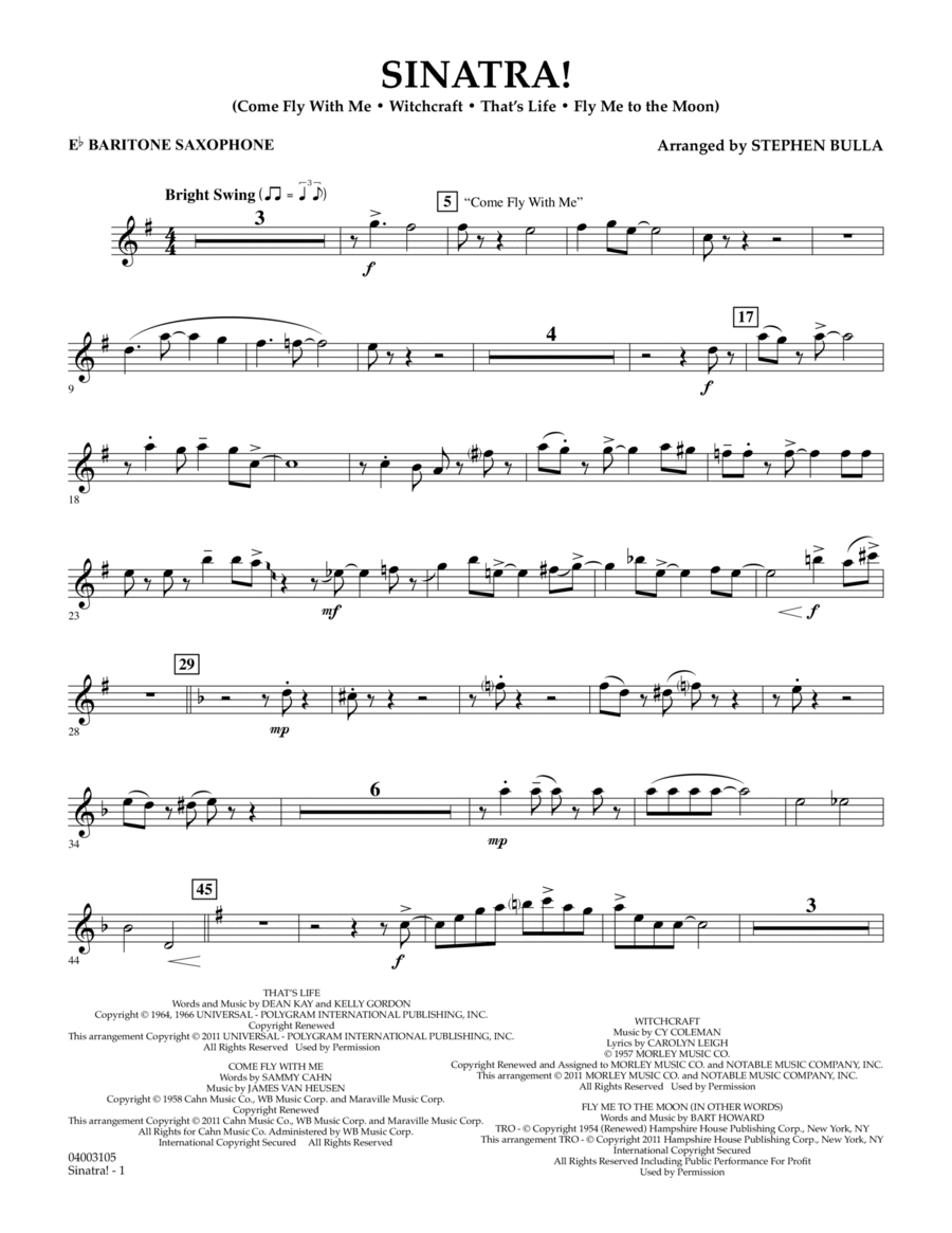 Sinatra! - Eb Baritone Saxophone