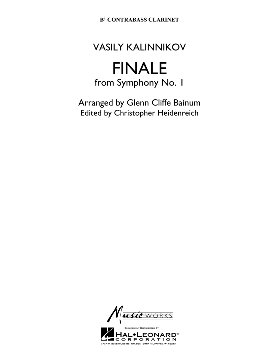 Finale from Symphony No. 1 - Bb Contra Bass Clarinet
