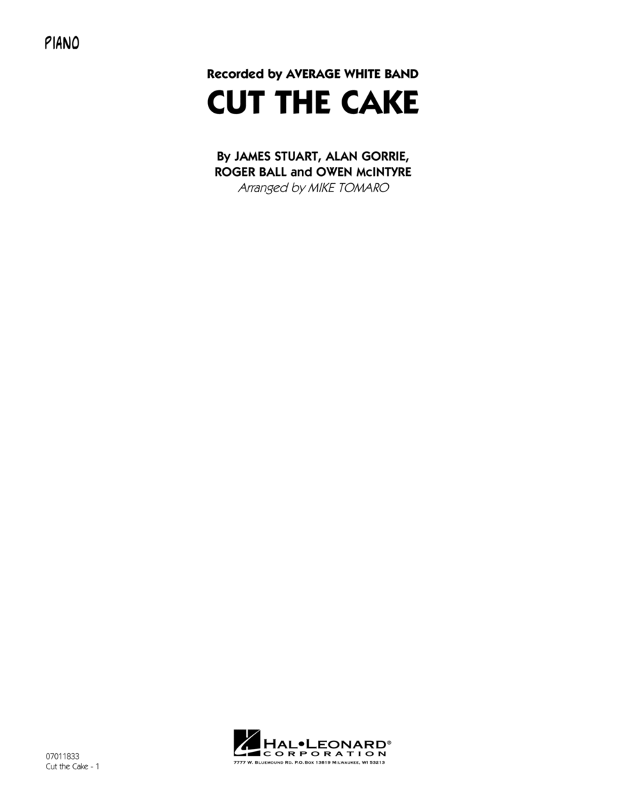 Cut The Cake - Piano
