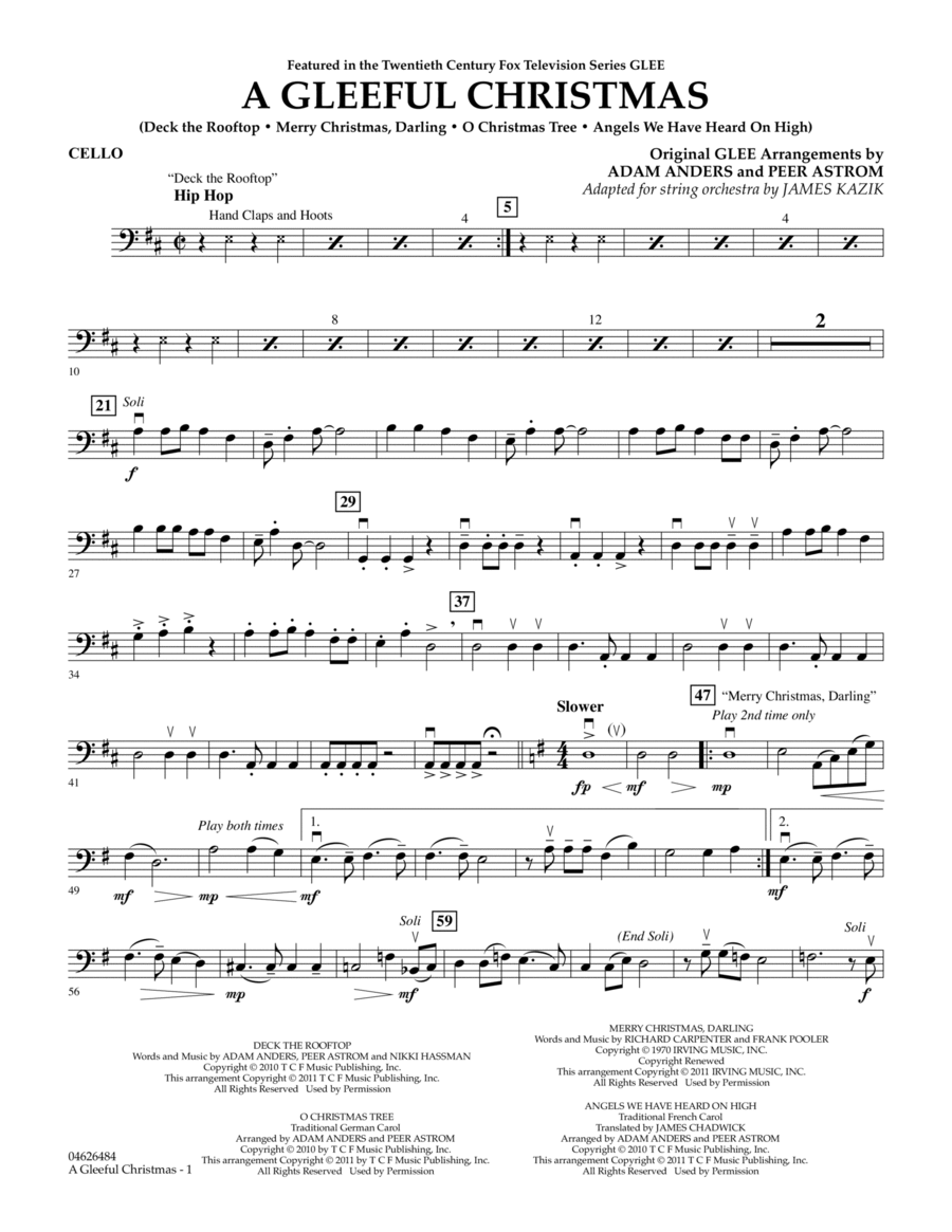 A Gleeful Christmas - Cello