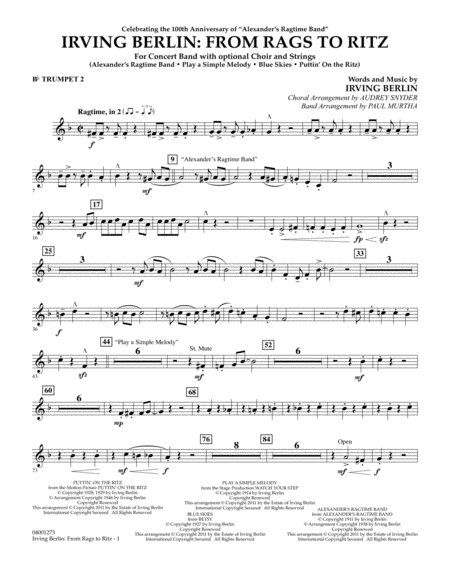 Irving Berlin: From Rags To Ritz - Bb Trumpet 2