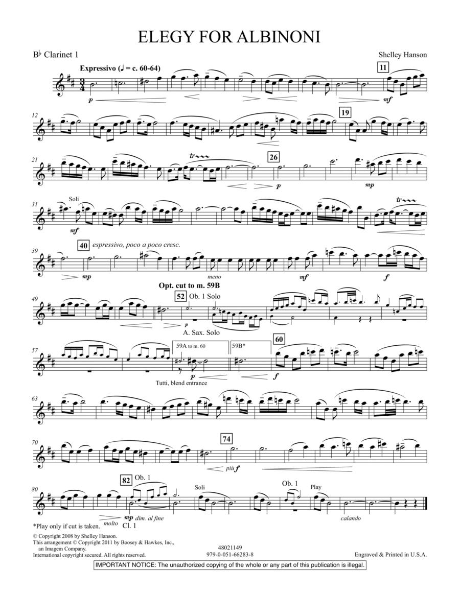 Elegy For Albinoni - Bb Clarinet 1