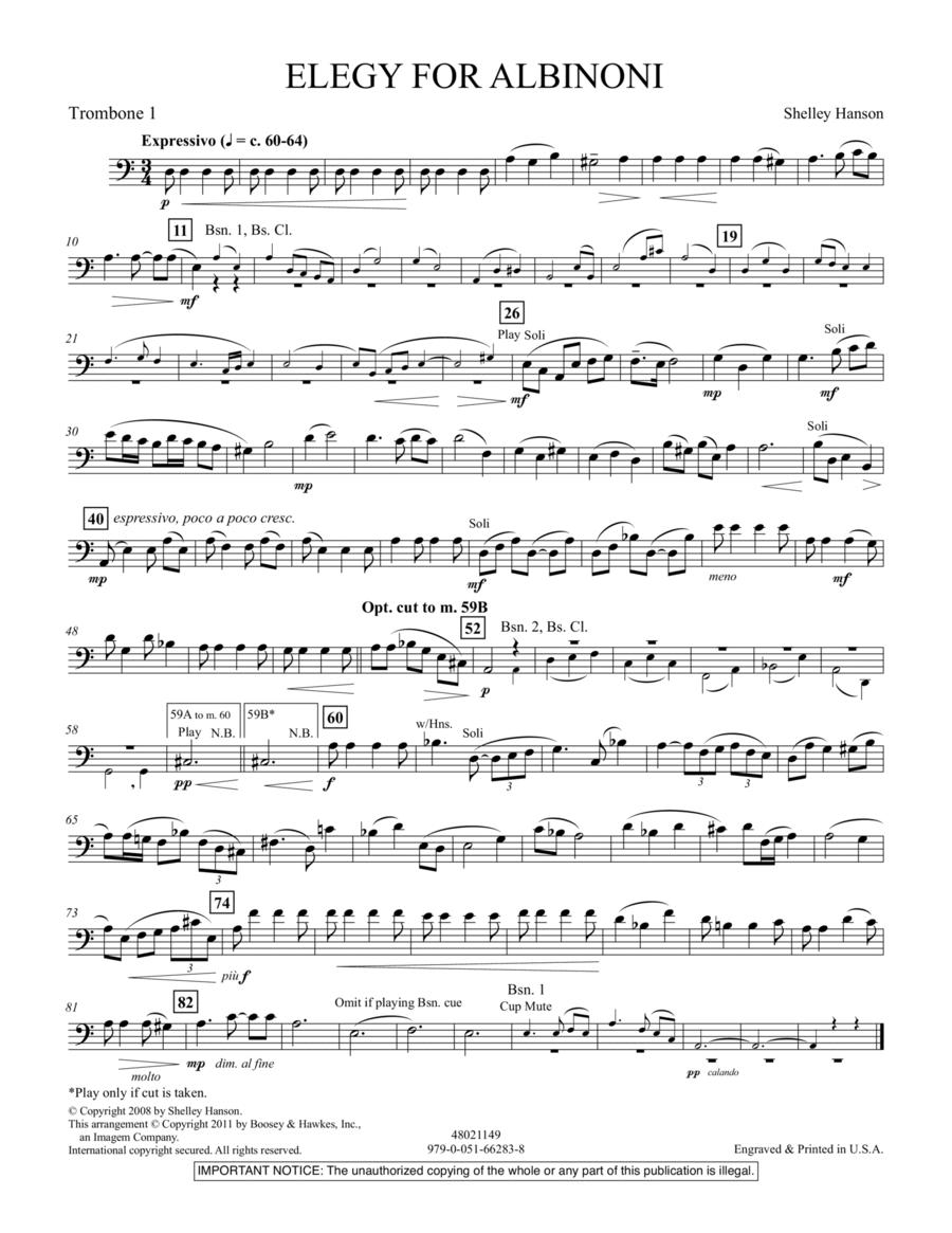 Elegy For Albinoni - Trombone 1