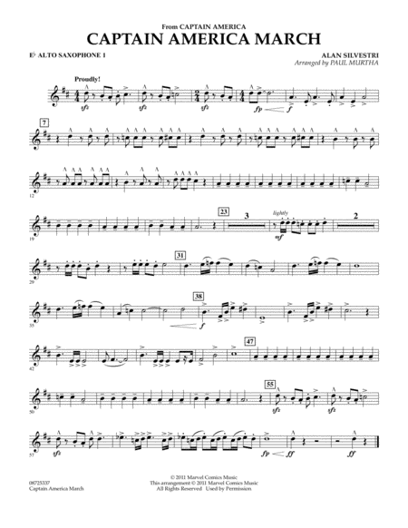Captain America March - Eb Alto Saxophone 1