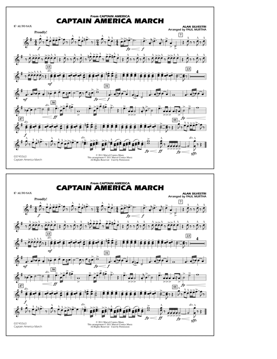 Captain America March - Eb Alto Sax