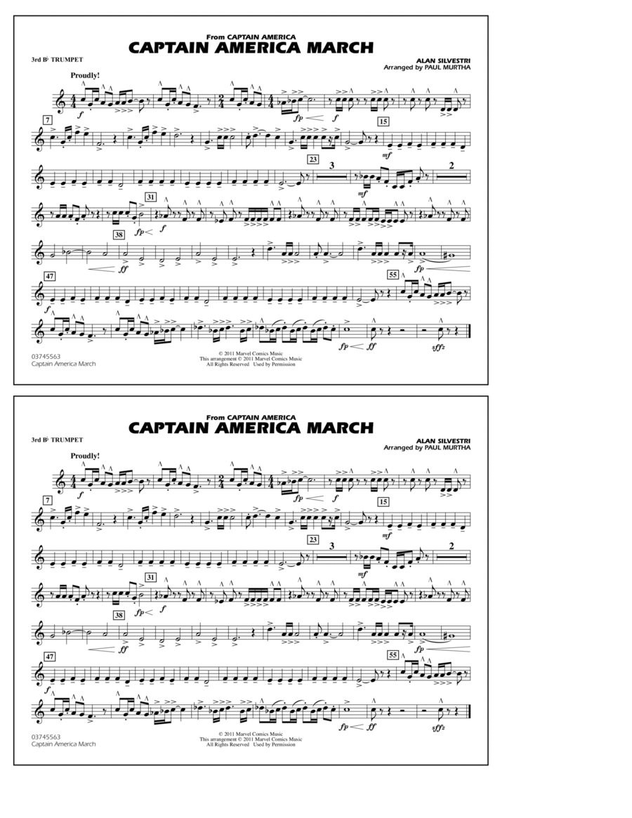 Captain America March - 3rd Bb Trumpet