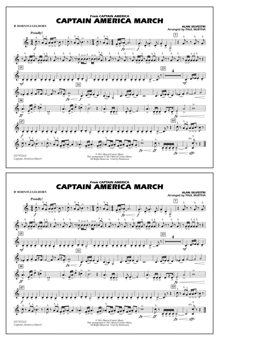 Captain America March - Bb Horn/Flugelhorn