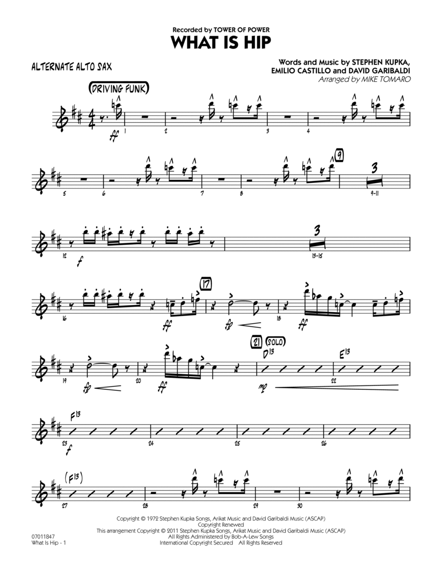 What Is Hip - Alternate Alto Sax