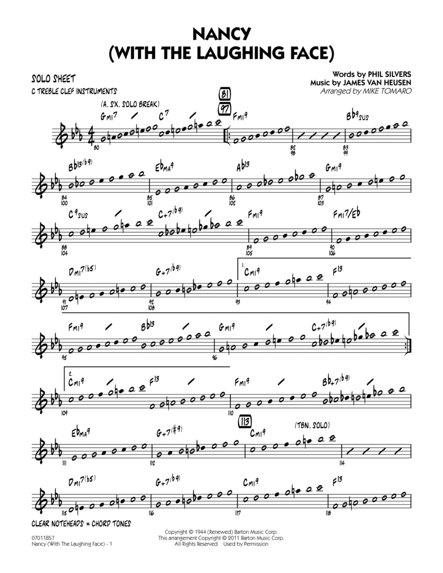 Nancy (With The Laughing Face) - C Solo Sheet