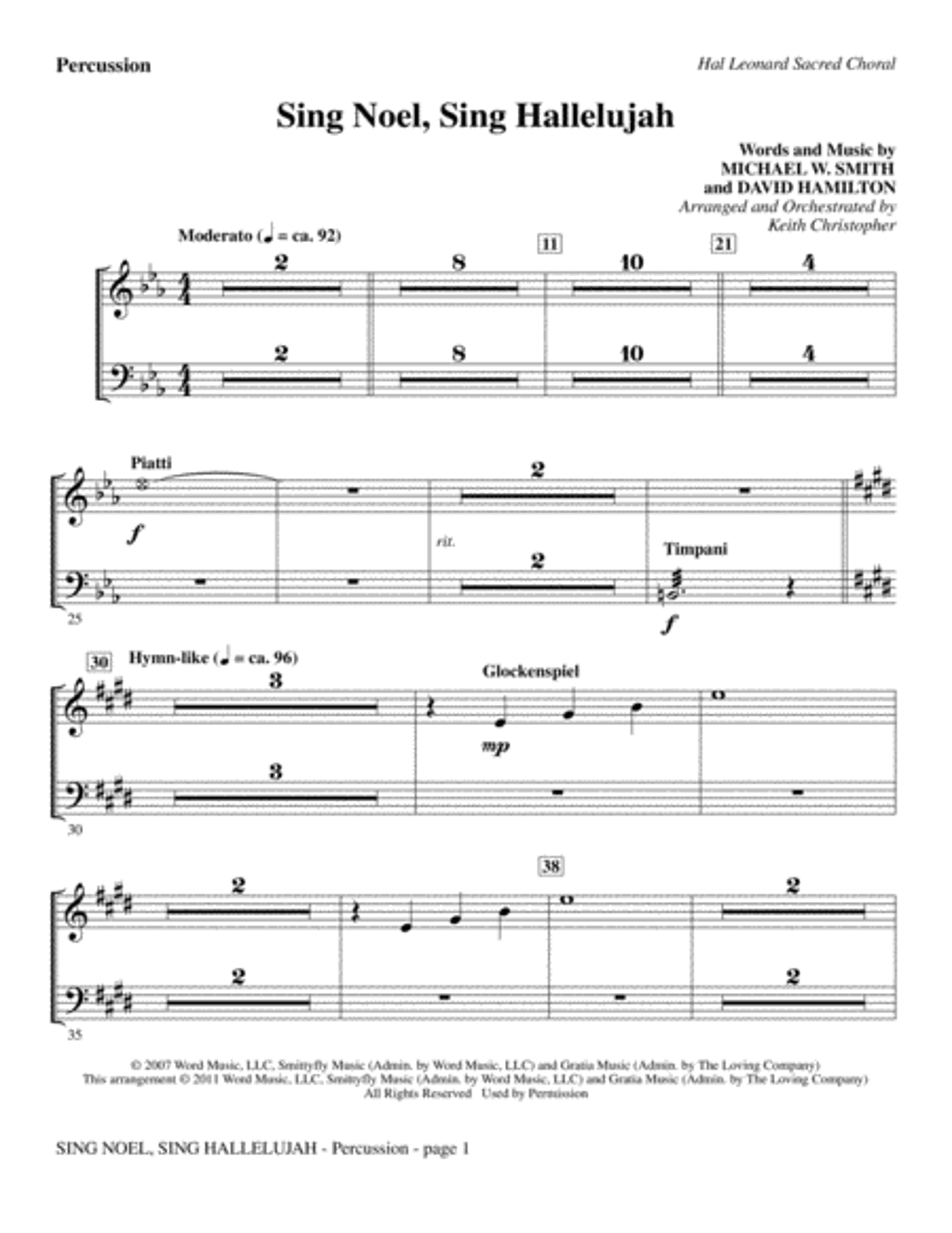 Sing Noel, Sing Hallelujah - Percussion