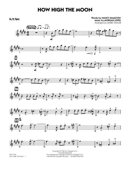 download how high the moon alto sax sheet music by. Black Bedroom Furniture Sets. Home Design Ideas