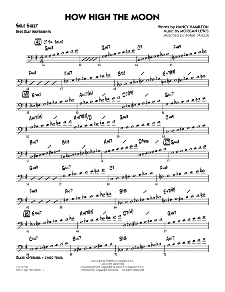 download how high the moon bass clef solo sheet sheet music by morgan lewis sheet music plus. Black Bedroom Furniture Sets. Home Design Ideas