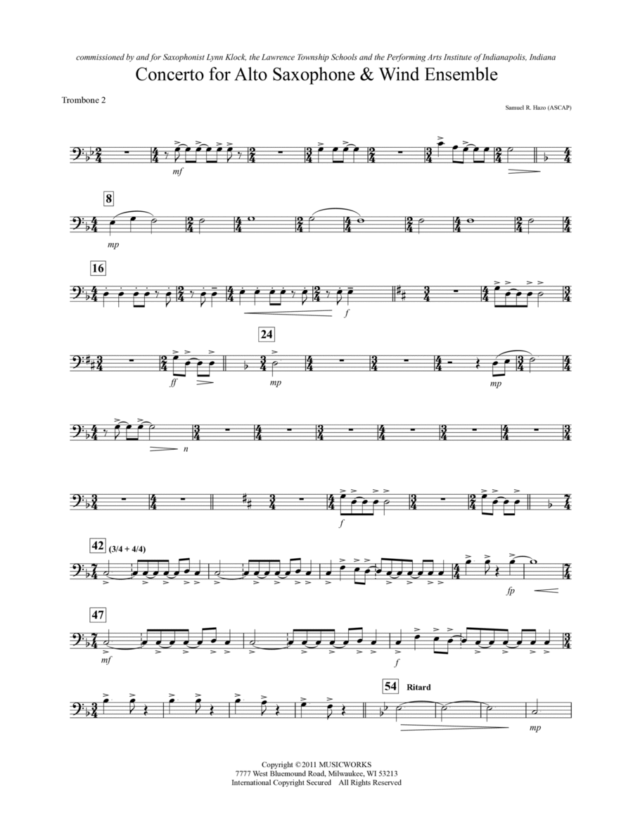 Concerto For Alto Saxophone And Wind Ensemble - Trombone 2