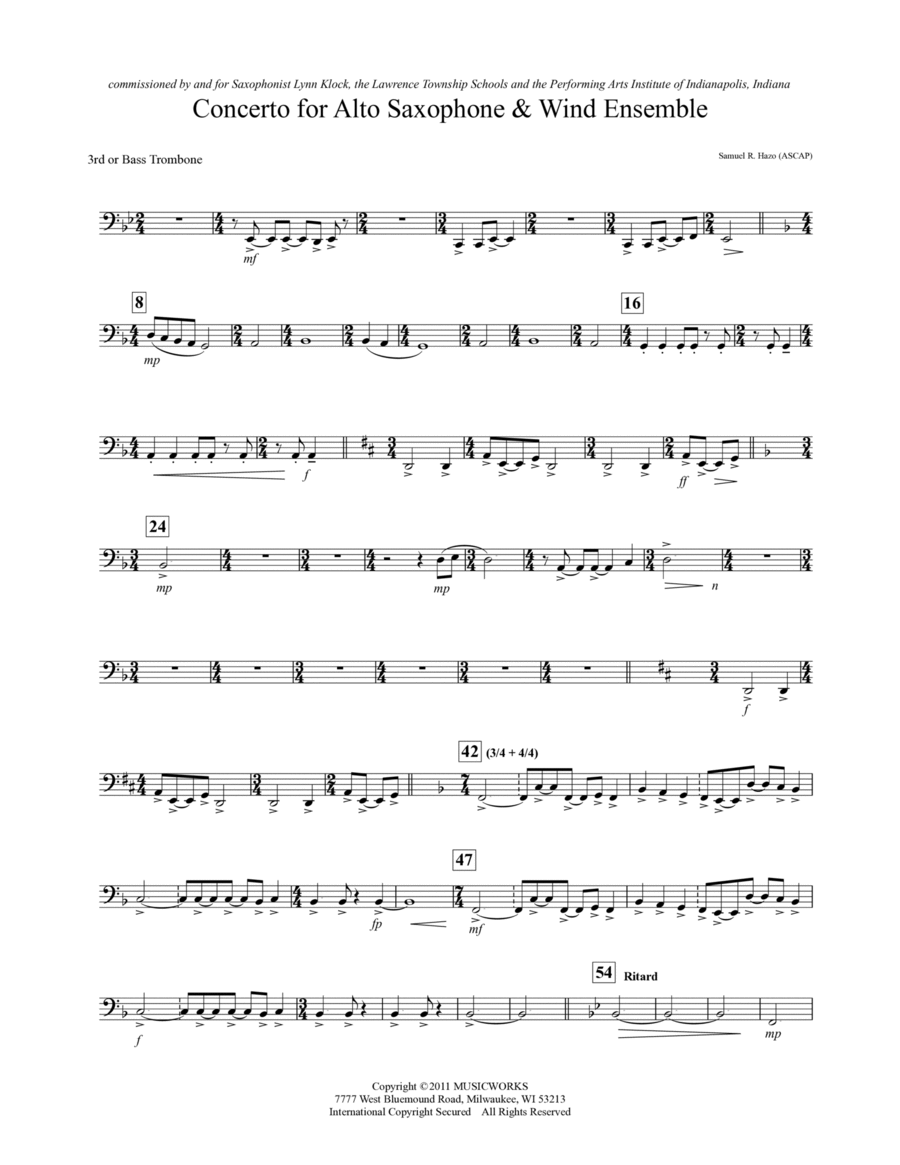 Concerto For Alto Saxophone And Wind Ensemble - Trombone 3