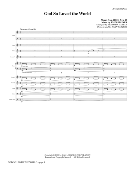 God So Loved The World Chamber Orchestra - Full Score