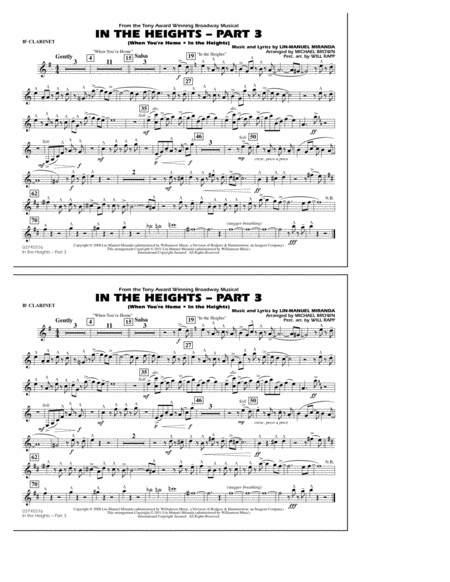 In The Heights: Part 3 - Bb Clarinet