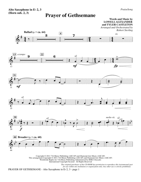 Prayer Of Gethsemane - Alto Sax 2-3 (sub. Horn 2-3)