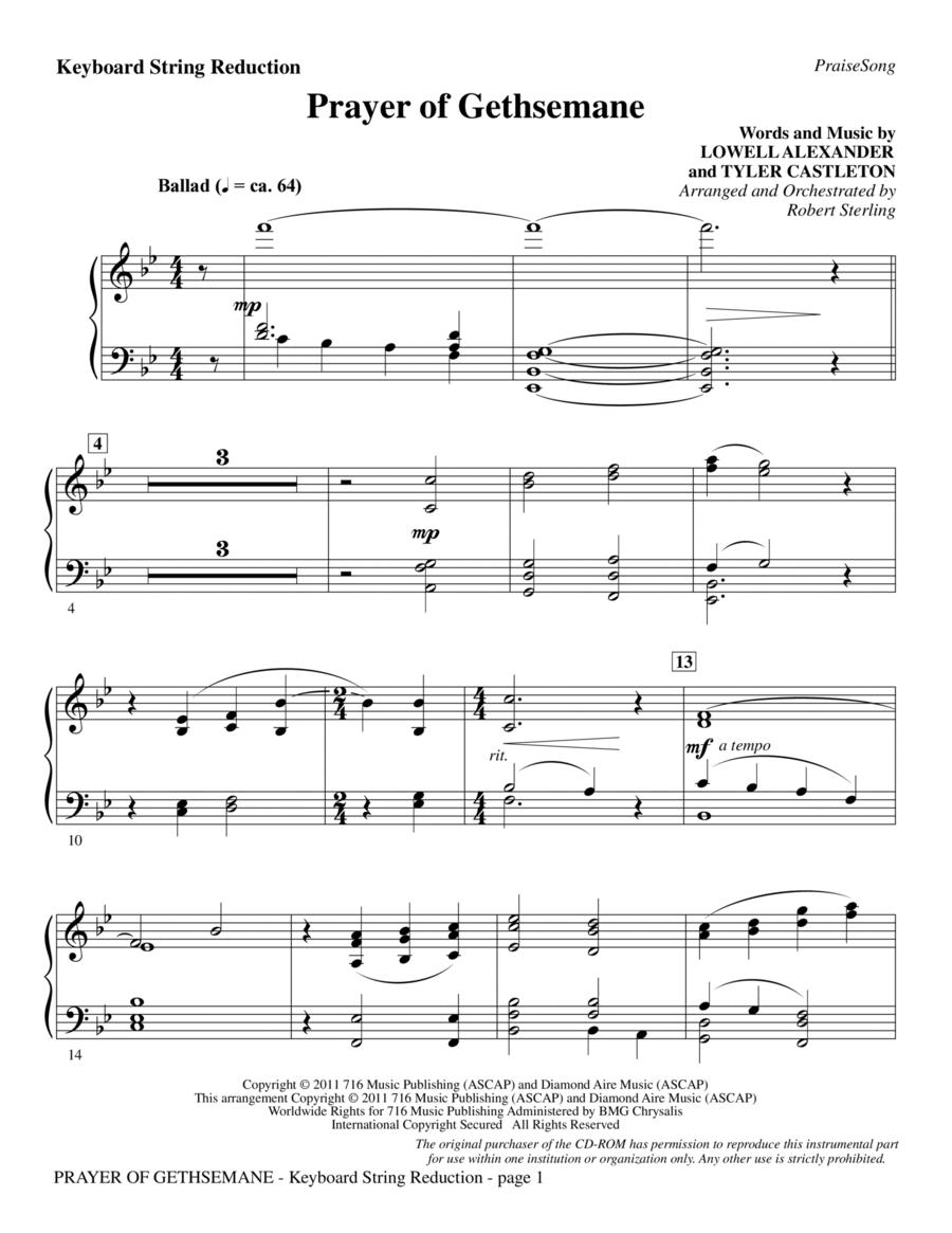Prayer Of Gethsemane - Keyboard String Reduction