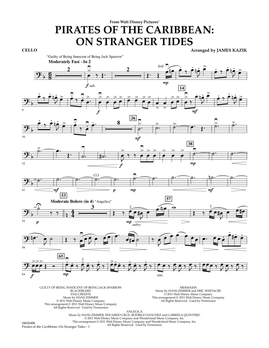 Pirates Of The Caribbean: On Stranger Tides - Cello