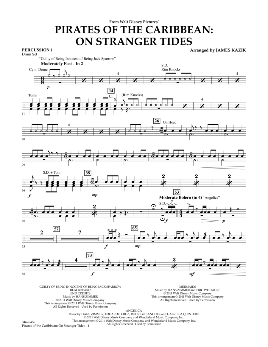 Pirates Of The Caribbean: On Stranger Tides - Percussion 1