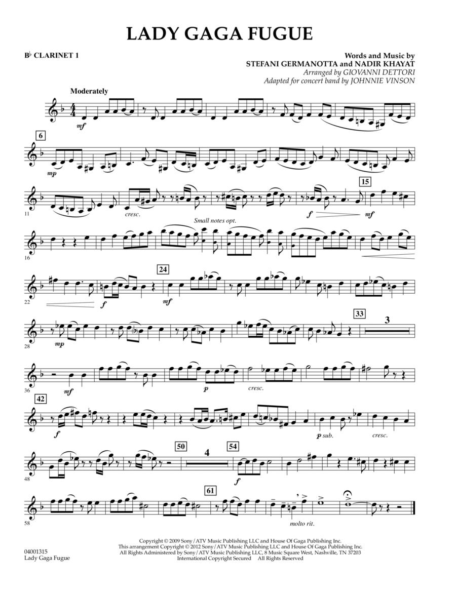 Lady Gaga Fugue - Bb Clarinet 1