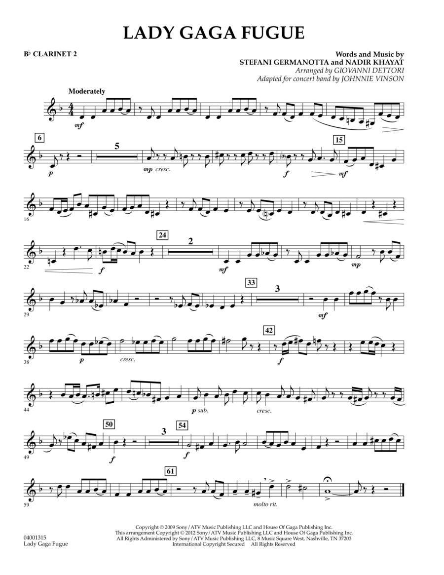 Lady Gaga Fugue - Bb Clarinet 2