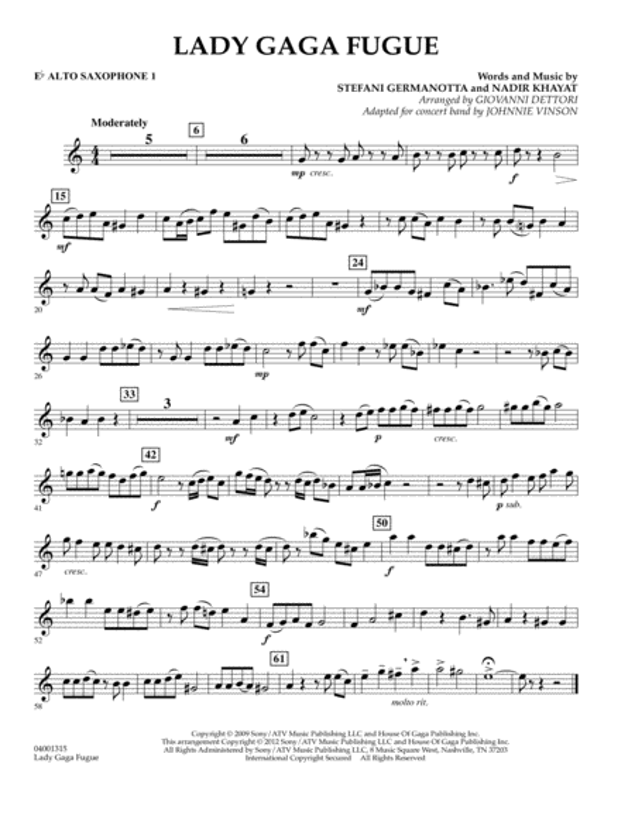 Lady Gaga Fugue - Eb Alto Saxophone 1